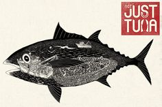 The story about tuna is more than just the fish. It is part of a fragile ecosystem. Greenpeace and artist Aaron Staples made the campaign 'Not Just Tuna. Ink Illustrations, Illustration Art, Make Your Own Logo, Ad Of The World, Protest Art, Anatole France, Communication Art, Creative Advertising, Advertising Design