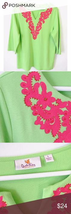 """Quacker Factory Green Top Pink Paisley Petals Sz L Brand: Quacker Factory Style: Top with applique, split V neck, 3/4 sleeves A263552 Size: L Color: green & pink  Material: 60% Cotton, 40% Polyester  Measurements taken flat: -Across under arm: 25"""" -Shoulder to hem: 28"""" Garment Care: machine wash, tumble dry  Condition: No flaws. See pictures for details. Quacker Factory Tops Tunics"""