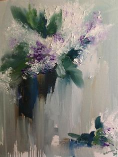 Stil Life Painting Palette Knife Art Bouquet Lilac Painting