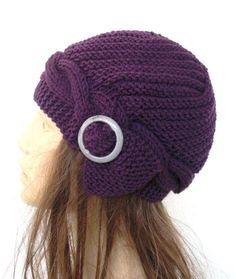Hand Knit Cloche Hat in Purple with Gray buckle Womens hat Autumn winter Christmas Fashion Accessories Autumn winter Fashion