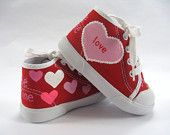 Girls Valentine Heart Shoes, Children's Red Hi Top Sneakers, Hand Painted for Baby or Toddlers