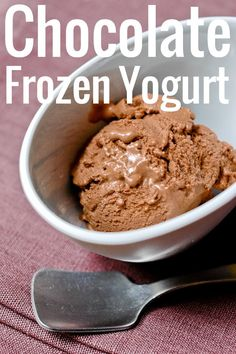 A shockingly good chocolate frozen yogurt. Super easy to make, with the intense chocolate flavor chocoholics require, and the smooth tang of yogurt.