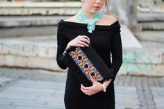 MarinaSays outfit, featuring hand made embroidered accessories by Slovak fashion designer, Jenny Jeshko. Find more style and beauty at www.MarinaSays.com