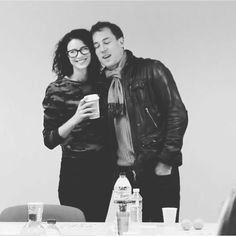 ༺☾♥☽༻ Cait & Tobias @ rehersal reading. - Oh my, just when i thought the day couldnt get any better, then i saw this picture of Cait in glasses and Tobias in a leather jacket. Adorable! :)
