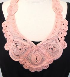 Modern bib necklace pink peach lace necklace by kirstenann on Etsy, $50.00