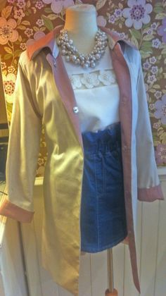 Fabulous Mid Season Look From Dahlia Fashion Two Tone Trench 85 Floral Top 48 Denim Skirt 42 Vintage Style Pearl Necklace
