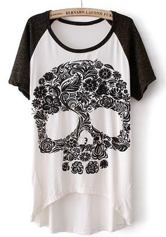 White Short Sleeve Skull Print Dipped Hem T-Shirt - Sheinside.com