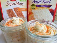 Portion control and easy 1 box angel food cake mix 1 box cake mix, any flavor Mix two cake mixes together, and store in large ziplock bag. They are perfect for whenever you feel like a treat without all the fat and calories that cake can have. This recipe is called 3, 2, 1 Cake, all you need to remember is: 3 tablespoons mix, 2 tablespoons water, 1 minute in the microwave, microwaves vary, so 45 sec to 1 minute and it is done http://GetTheSkinnyNow.sbc90.com