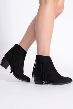 Nostalgia Black Faux Suede Fringed Ankle Boots - In The Style
