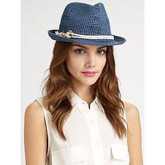 €56, Chapeau bleu Genie By Eugenia Kim. De Saks Fifth Avenue. Cliquez ici pour plus d'informations: https://lookastic.com/women/shop_items/62247/redirect