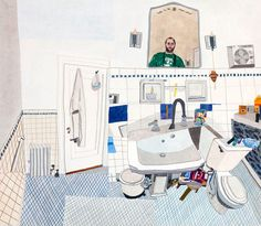 Jonas Wood — Self Portrait In Downstairs Bathroom, 2011, gouache and colored pencil on paper,  25 7/8 x 29 11/16 inches.