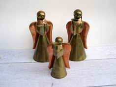 "Christmas Angel Candle Holders - Brass and Copper Angels - Large 9"" Tall - Christmas Decoration"