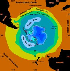 Oceanographic frontal systems in the Southern Ocean.