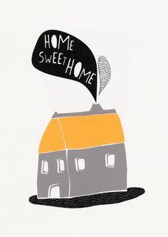Home sweet home - Illustration print. $13.00, via Etsy.