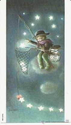 The Collection - Juan Ferrándiz Sun And Stars, Good Night Moon, Thomas Kinkade, Moon Art, Whimsical Art, Cute Illustration, Fantasy Art, Artsy, Sketches