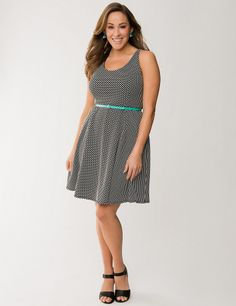 Plus Size Polka Dot Skater Dress by Lane Bryant | Lane Bryant