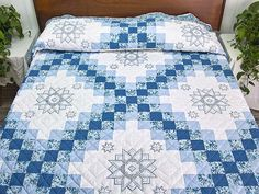 Cross Stitch Irish Chain Quilt -- marvelous well made Amish Quilts from Lancaster Irish Chain Quilt, Embroidered Quilts, Amish Quilts, Foundation Paper Piecing, Blue Quilts, Mug Rugs, Free Motion Quilting, Quilt Making, Blue Flowers