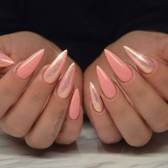 Why are stiletto nails so amazing? We have found the very Best Stiletto Nails for 2018 which you will find below. Having stiletto nails really makes you come off as creative and confident. Hot Nails, Hair And Nails, Fancy Nails, Pretty Nails, Crome Nails, Peach Nails, Coral Nails Glitter, Peach Acrylic Nails, Coral Pink Nails