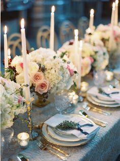 Romantic, dim, elegant wedding table decor: http://www.stylemepretty.com/little-black-book-blog/2016/11/14/elegant-winter-wedding-inspiration-winery/ Photography: Amelia Johnson - http://www.amelia-johnson.com/