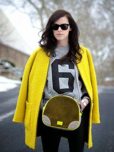 bittersweet colours, ASOS, sweatshirt, Meredith Wendell, Zara, yellow coat, neon colors, colorful coats, cooee jewelry, Nike, sporty-chic, s...