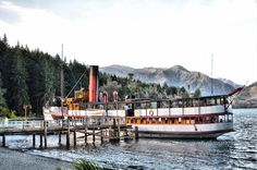 TSS Earnslaw Vintage Steamship docked at Walter Peak High Country Farm at Queenstown, NZ