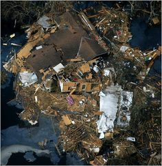 This is a picture of some damage from Hurricane Katrina. This picture reminds me of Christina Aguilera. It reminds me of her because when she got married, she donated most of her wedding gifts to people that were in need after the hurricane