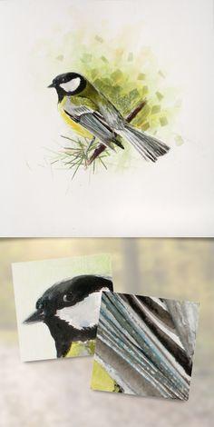 Watercolor and dry chalk illustration - Nicolas Lantoine #watercolor #illustration #painting #bird