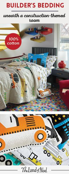 We've created a modern update to the classic construction themed-bedroom. Featuring plenty of trucks and bulldozers in bold colors, this construction bedding set will brighten any boy's bedroom. The printed bedding collection is made from the finest 100% cotton and filled with tons of mix-and-match styles. And, add some big machine throw pillows to build extra personality.
