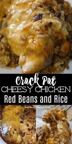 This Crock Pot Cheesy Chicken Red Beans and Rice is a delicious comfort meal that tastes great, is hearty, loaded with cheese, and super easy to make. #crockpot #slowcooker #dinner #chicken #greatgrubdelicioustreats