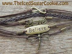 Dragonfly Believe Love Infinity Charm Teen Girls Faux Leather Women Jewelry