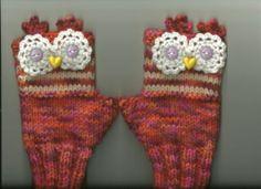 Owl Wrist Warmers Fingerless Gloves Ladies Teens Orange Knit Sz Medium Lar | eBay