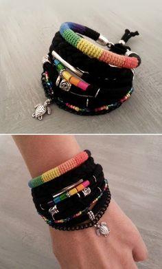Pulsera gitana pulsera arco iris, pulseras de Chakra, brazalete Hippie, pulseras de capas, negro pulsera Boho tortuga encanto, joyería de la Bohemia