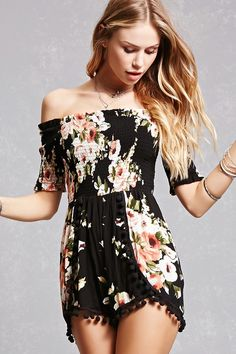 A stretchy knit romper featuring an elasticized off-the-shoulder ruffled neckline, an allover floral print, smocked bodice, short sleeves, and a pom-pom trimmed hem.<p>- This is an independent brand and not a Forever 21 branded item.</p>