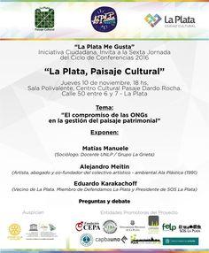 """LA PLATA, PAISAJE CULTURAL  La Municipalidad de La Plata en conjunto con la iniciativa ciudadana """"La Plata Me Gusta"""", lanzarán este jueves a las 18 horas un ciclo de conferencias en el marco del proyecto de candidatura de La Plata como """"Paisaje Cultural"""" ante la UNESCO.  Más info: http://ly.cpau.org/2fCuWpQ  #AgendaCPAU #RecomendadoARQ"""