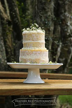 Naked wedding cakes, vintage cakes with flowers, lace wedding cake  Cake by: Sweet Expectations Bakery Photography by: Heather Rice Photography Cake Topper Floral: Atmosphere's Floral