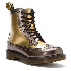 Dr. Martens Harrie Brogue Boot   Women's - Pewter/Gold Spectra Patent - FREE SHIPPING at OnlineShoes.com
