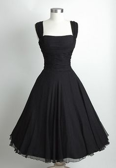 HEMLOCK VINTAGE CLOTHING : Saks Fifth Avenue Ruched Chiffon 1950's Dress..love this classic little black dress.  Want!