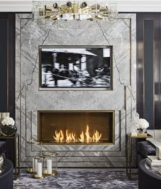 Katharine Pooley Luxury, elegant and beautiful living room with marble fire place. Home Fireplace, Living Room With Fireplace, Fireplace Surrounds, Fireplace Design, Ikea, Chimney Decor, Marble Fireplaces, Top Interior Designers, Beautiful Living Rooms