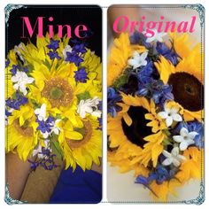 My bouquet on the left & Pinterest bouquet  the right.