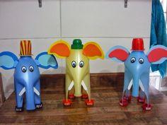 Elefante feito com garrafa de amaciante - elefantes feitos com garrafas de amaciante recicladas - brinquedo reciclado! ~ ESPAÇO EDUCAR