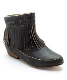 Another great find on #zulily! Black Jig Leather Ankle Boot by Latigo #zulilyfinds