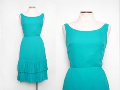 Teal Blue 1950s Party Dress