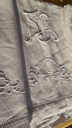 French antique hand embroidered large linen sheet mono SP PS flowers dots leaves