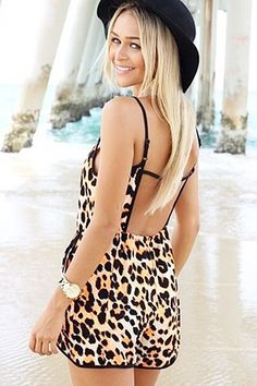 Leopard Print Back Hollow-out Spaghetti Strap Jumpsuit