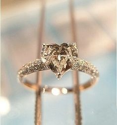 1 carat heart shaped diamond wedding ring - Not really into the heart shape diamonds but this one is pretty. My diamond must be 2 ct. - Remember that! Bling Bling, Proposal Ring, Heart Shaped Diamond, Ring Set, Ring Ring, Ring Cake, Champagne Diamond, Champagne Ring, Champagne Color