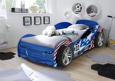 Turbo racer blue car bed