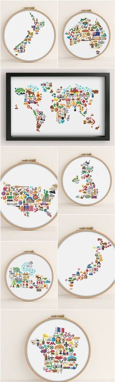 Cultural Icon Map Cross Stitch Patterns World map, America, New Zealand, Canada, Japan, United Kingdoms, France, Australia ##crossstitch