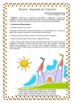 Musica - Aquarela de Toquinho                                                      simone_drumond@hotmail.com             ... Kids Education, Back To School, Musicals, Clip Art, Letter J Activities, Kids Activity Ideas, Literacy Activities, Art Education Lessons, Music Classes For Kids