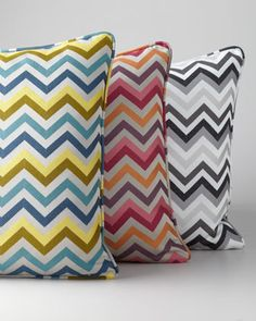 Chevron-striped accent pillow is bedecked in layers of color and edged with piped trim. #chevron #horchow