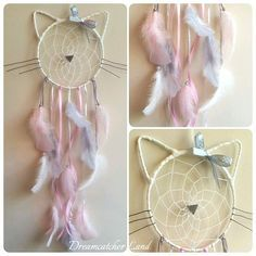 Catcher - sueños forma cabeza de gato (diámetro 20 cm, largo 55 cm) compuesto de un círculo tejido en Crafts To Make, Crafts For Kids, Arts And Crafts, Dream Catcher Craft, Dream Catchers, Dream Catcher Mobile, Diy Cadeau Noel, Craft Projects, Projects To Try